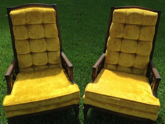 sale vintage lewittes gold velvet high back tufted chairs. Black Bedroom Furniture Sets. Home Design Ideas