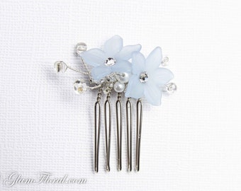 Light Blue Flower Hair Comb, handwired with pearls, swarovski crystals, clear beads