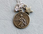 My shooting star- The little prince (le petit prince) coin and diamond star- French inspired dainty charm necklace