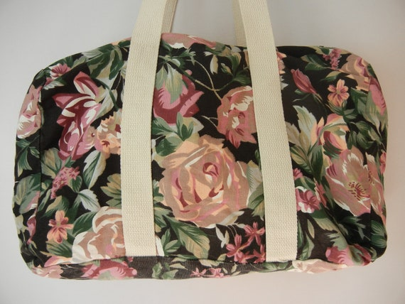 Vintage Floral Bag, Duffle Bag, Canvas, Hipster, Indie, 90's, My So Called Life, Tumblr