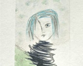 "Amelia in the Wind-  8 1/2 x 11""Mixed Media Watercolor and Archival Inks- Pale green. Blue, Sepia, Black and White Background"