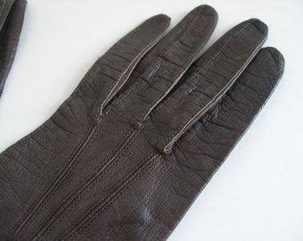 French Vintage Brown Leather Gloves - Dark Chocolate / Coffee Brown