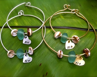 SALE-Matching Mom and Daughter--Beach Glass and Shell Personalized Bangles