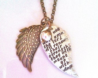 Mounted Up With Wings...Hand Stamped Necklace