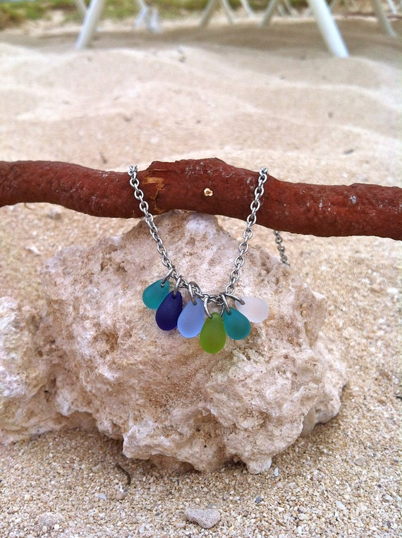 SALE--NEW-Beach Glass Beads..Tarnish Free Ocean and Water Wearable Jewelry by dc&t