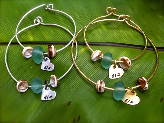 Custom Listing For Jade...SALE-Matching Mom and Daughter--Beach Glass and Shell Personalized Bangles