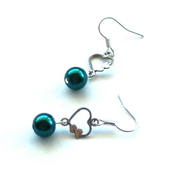 Teal Pearl Heart Earrings