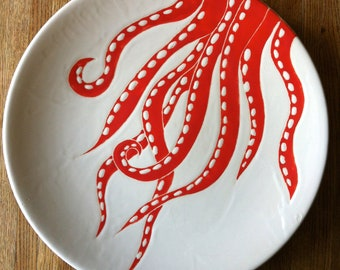 Coral and white octopus, round ceramic platter, plate, serving dish by Jessica Howard Ceramics
