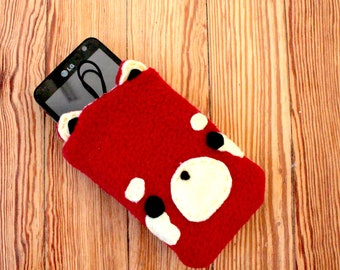 Red Panda Phone Pouch - Samsung Galaxy or iPhone Case, Smartphone Cozy, Phone Case, Animal Phone Case, Kawaii