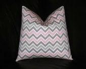 "Pink Pillow ONE Decorator Throw Pillow COVER 26 inch Euro Baby Pink, White 26"" Premier Prints CHEVRON zig zag"
