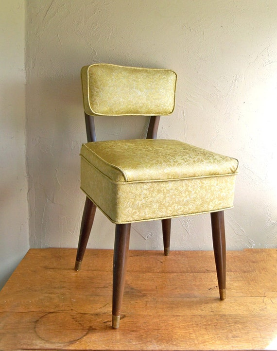 """Mid-Century Modern Sewing Chair with Retro Gold Floral Vinyl Upholstery - """"Beautiful"""""""