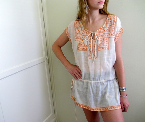 Vintage Peasant Dress Tunic See Through White Orange Paisley Gypsy