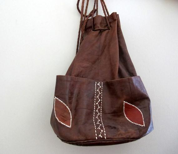 Vintage Leather Purse Brown Floral Boho Bohemian Bag
