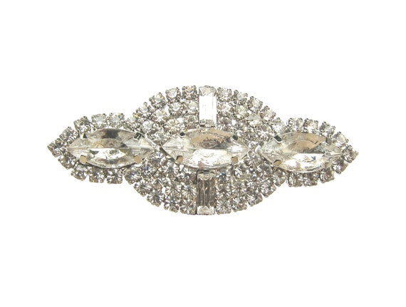 1 Crystal Rhinestone Brooch for Wedding Cake Decoration Bridal Sash Hair Comb Gift Box Ring Pillow BRO-020 (53mm  or 2.1 inch)