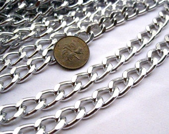 2ft Big Silver Curb Chain 13x9mm Link Aluminum Craft Supplies ac071