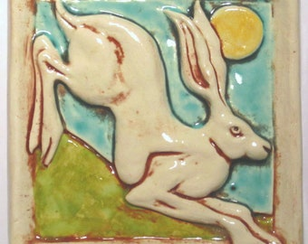 Leaping Hare Rabbit Ceramic Art Tile - White Multi, 4 x 4 Handmade Ceramic Tile, Ceramic Wall Art