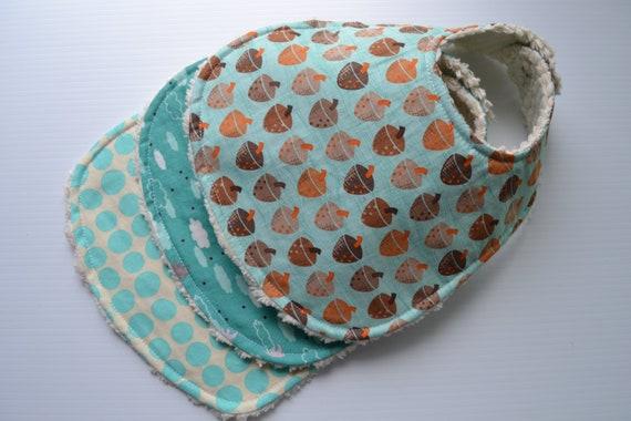 Gender neurtal, chenille bibs, set of 3, acorn, clouds, birds, polka dots