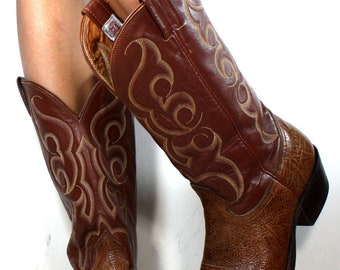 Vintage cowboy low heel mid calf pixie nocona western brown Leather fashion boots 10 D mens 11.5 womens
