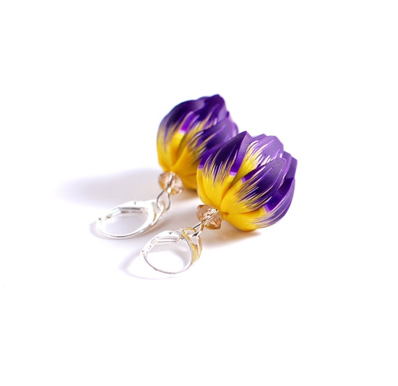 Earrings with purple and yellow flower with sterling silver earwires