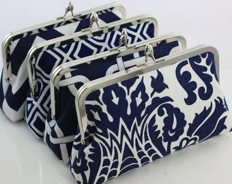 Navy & White Color Scheme - 8 inches Bridal and Bridesmaid's Silver Frame Clutches - Set of 4