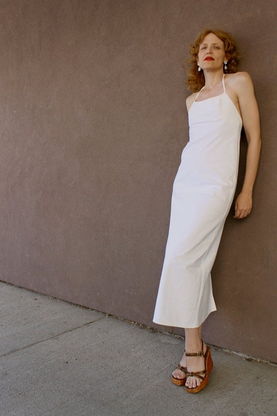 RESERVED.................................................STUNNING 1980's White Cotton Halter Dress ( Size XS or Small)