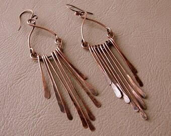 Long Copper Earrings - Long Dangly Earrings - Chandelier Earrings - Hammered Copper