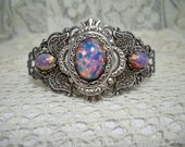 Bracelet - Pink Fire Opal -  Vintage Style Cuff Bracelet -  Free Shipping