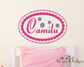 Scalloped Oval Custom Name with Flowers, nursery, kids & teens room, custom removable decals stickers