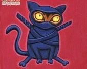 "NinjaCat - 8 x 8"" art print - funky kitty dressed up like a ninja hot pink red purple"