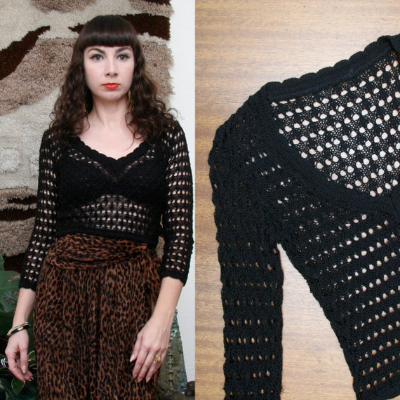 Vintage 90s Black Crochet Cropped Top Extra Small-Small