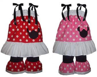 Pillowcase Dress & Pants Set Minnie Mouse Dress Boutique New 6/9M 12/18M 24M/2T 3t/4T 5/6 Pageant