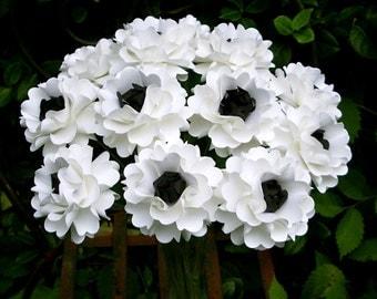 Handmade Paper Flower - Oriental Poppy - Anemone Inspired - White and Black - Set of 12 - Stems  Included