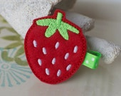 Bright Red Strawberry Felt Hair Clip- Toddler Clips