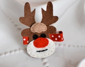 Rudolph the Red Nosed Reindeer Felt Hair Clip