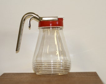 On Sale...Little Red topped Glass Pitcher