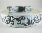 Hemp Dog Collar - Tribal Stencil Blue and Brown - 3/4in