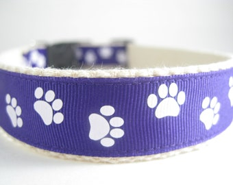 Hemp dog collar - Purple Paws