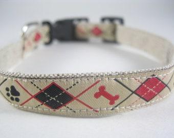 Argyle Bones and Paws hemp dog collar - 3/4in