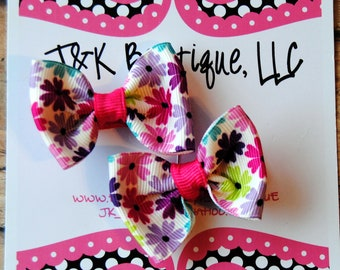 Pigtail Mini Bows on clips small flower ribbon- You can always Custom order at J&K BOWTIQUE