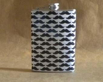 Price Reduced Mustache Print Stainless Steel 8 ounce Groomsmen Guy Gift Flask On Sale KR2D 6025