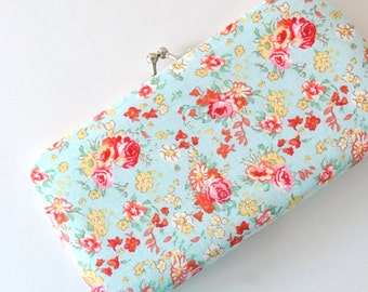 Sky Blue Floral - Small Flat Clutch