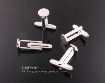 5pairs/10pcs-Rhodium plated Brass Cuff Links Cufflink Blank With 8mm pad(E313S)