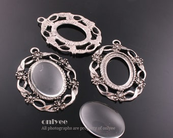 4PCS-45mmX33mmAntique Silver Plated Brass Pendant tray Settings of 18mmX25mm with Domed Glass Cabochons (E319S)