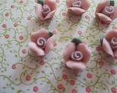 Sweet Pink Ceramic Rose Flower with Green Leaf Flat Back 8mm Cabochons Qty 6