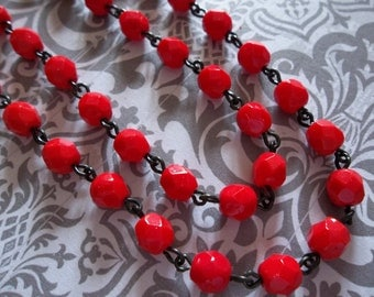 Opaque Red 6mm Fire Polished Glass Beads on Jet Black Beaded Chain - Qty 18 Inch strand