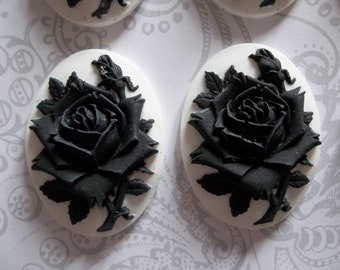 Blooming Black Rose Flower on White Cameo - 40X30mm Plastic Cabochons - Qty 4