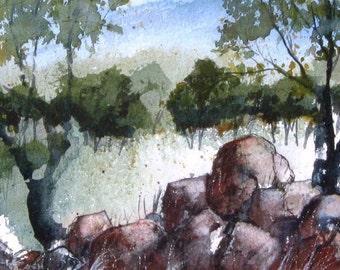 Stone Garden - Original Watercolor Painting