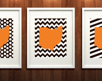 Cleveland, Ohio State Set of Three State Giclée Map Art Prints - 8x10 -  Brown and Orange Print