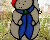 Large Holiday Winter Snowman Stained Glass Suncatcher