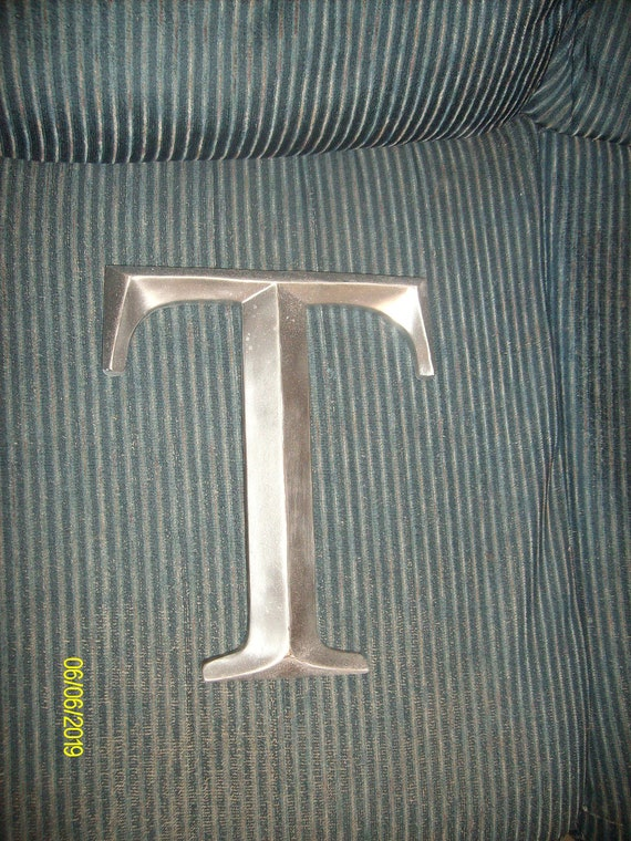 Wall Decor Letter T : Large silver painted letter t wall decor by
